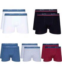 cueca lupo boxer 523-910 algodã£o com elastano kit com 10 unidades - multicolorido - masculino - dafiti