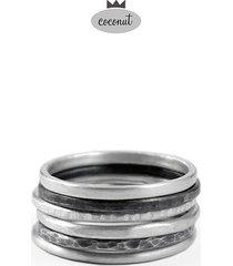 pierścionek texture - 6 obrączek srebro t11