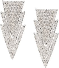 alessandra rich crystal-embellished triangle-drop earrings - silver