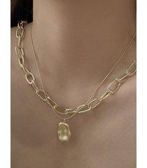 collar de cadena de encanto ovalado texturizado de 2 piezas