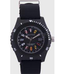 reloj negro-blanco-multicolor nautica