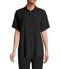 eileen fisher women's silk short-sleeve shirt - mist - size l