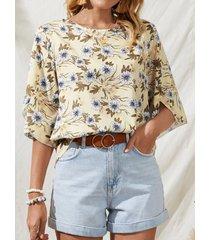 camicetta t-shirt taglia manica 3/4 con stampa floreale bohémien plus
