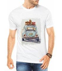 camiseta criativa urbana fusca azul carro antigo colorido retrô