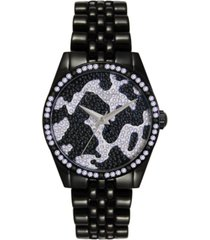 jessica simpson women's camo pave crystal black tone bracelet watch 37mm