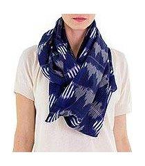 cotton infinity scarf, 'midnight maya' (guatemala)