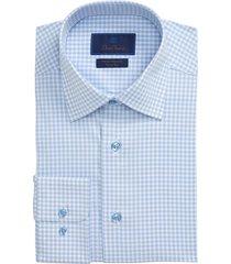 men's big & tall david donahue trim fit performance stretch check dress shirt, size 18.5 - 36/37 - blue