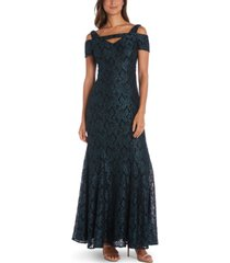 nightway cold-shoulder lace mermaid gown