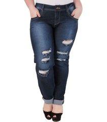 calça confidencial extra plus size jeans estonada feminina