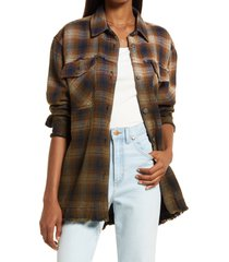 free people anneli plaid shirt jacket, size medium in navy tobacco combo at nordstrom