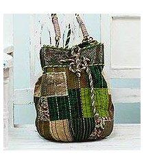 cotton shoulder bag, 'patchwork delight' (india)