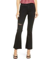 women's paige claudine high waist raw hem flare leg jeans, size 25 - black