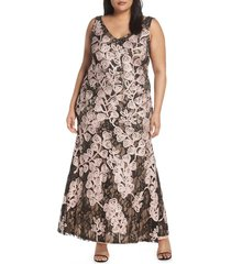 plus size women's js collections soutache embroidered lace evening dress