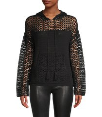 knit-mesh hoodie sweater