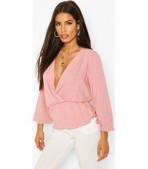 linen mix peplum hem blouse, pink