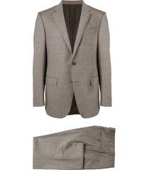 ermenegildo zegna fine knit micro-checked suit - brown