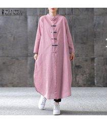 zanzea las mujeres más del cuello redondo botón de comprobación-camisa de vestir flojo vestido a media pierna señoras -rojo