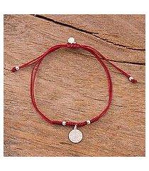 sterling silver charm bracelet, 'peruvian shield in dark red' (peru)