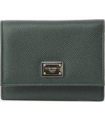 dolce & gabbana dauphine tri-fold leather wallet