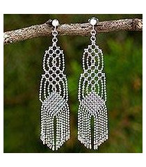 sterling silver waterfall earrings, 'macrame inspiration' (thailand)