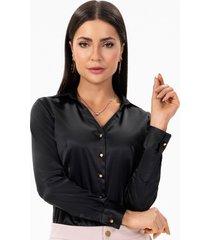 camisa social feminina preta