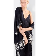 adorn robe, women's, black, 100% silk, size xs, josie natori