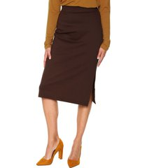 falda media marron oscuro realist