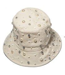 ivory jeweled bucket hat