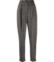 dolce & gabbana tapered tweed trousers - brown