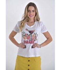 t-shirt mamorena bordada manga laise multicolorido