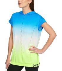 dkny sport tie-dyed seamless cap-sleeve hoodie