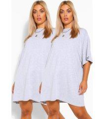 plus blouse jurken (2 stuks), grijs gemêleerd