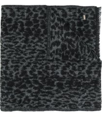 saint laurent animal print winter scarf - black