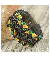 men's wristband bracelet, 'golden braid' (ghana)