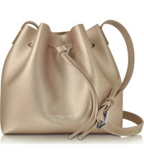 lancaster paris designer handbags, pur & element champagne pink saffiano leather bucket bag