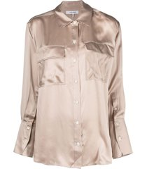 frame silk boyfriend shirt - neutrals