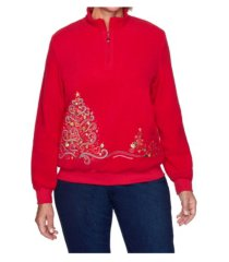 alfred dunner women's misses tree embroidered pullover