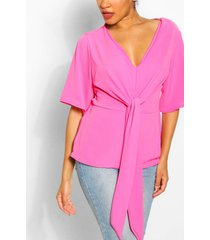 knot front woven blouse, hot pink