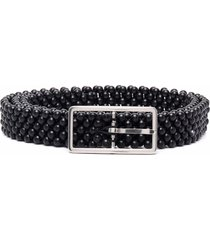 bottega veneta beaded wooden belt - black