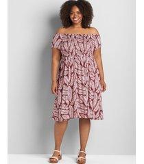 lane bryant women's off-the-shoulder smocked swing dress 38/40 berry palm print