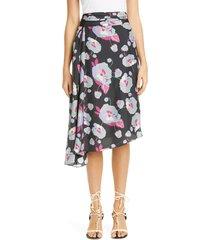 women's isabel marant floral print asymmetrical silk skirt