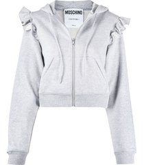 moschino cropped frilled shoulder zipped hoodie - grey