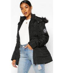 parka jas met faux fur capuchon en ceintuur, zwart