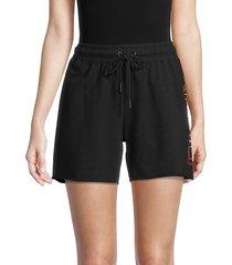 dkny sport women's logo drawstring shorts - black - size m