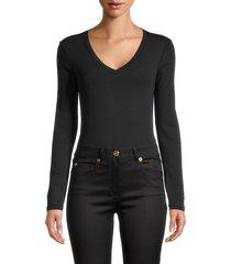 calvin klein jeans women's v-neck bodysuit - black - size l
