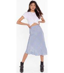womens it's worth a spot satin midi skirt - sky