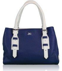 borsa a mano e tracolla j&c jackyceline b107-01 blu-bianco