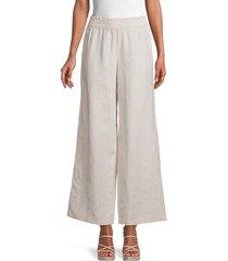 saks fifth avenue women's wide-leg linen pants - lottie stripe - size xl