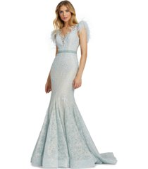mac duggal embellished illusion-neck gown
