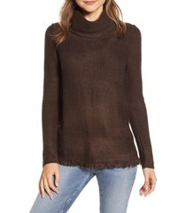women's beachlunchlounge fringe finish cowl neck sweater, size small - brown